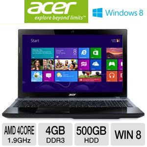 "Acer Aspire 15.6"" AMD Quad-Core 500GB Notebook"