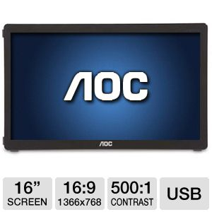 "AOC 16"" USB  Portable LED Monitor"