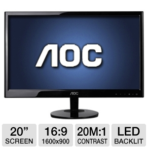 "AOC 20"" Wide 1600x900 LED Monitor, VGA"