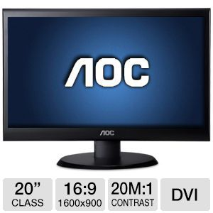 "AOC 20"" Wide 1600x900 LED Monitor, VGA, DVI"