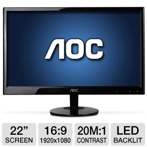 "AOC 22"" Wide 1920x1080 LED Monitor, 5ms, VGA, DVI"