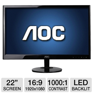 "AOC e2251Fwu 22"" Class Widescreen LED Backlit Moni"