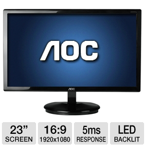 "AOC 23"" 1080p LED with Special Cable Input Base"