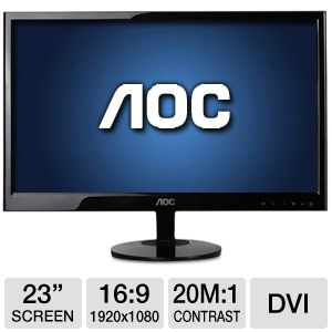 "AOC 23"" Wide 1080p LED Monitor, VGA, DVI"