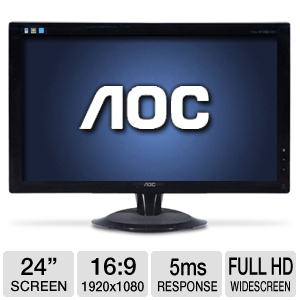 "AOC 2436V 24"" Full 1080P HD DVI Monitor"