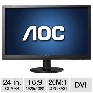 "AOC 24"" Wide 1080p LED Monitor, VGA, DVI"