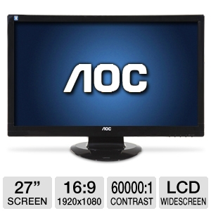 "AOC 2770Vh1 27"" Widescreen HD LCD Monitor"