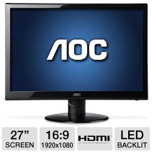 "AOC 27"" Wide 1080p LED Monitor, 2ms, DVI, HDMI"