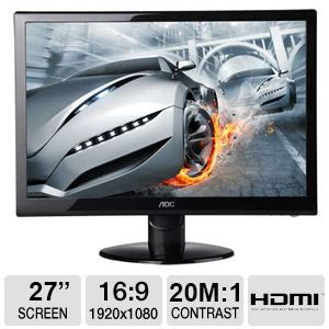 "AOC 27"" HDMI, 1080p, 2ms LED Backlit Monitor"