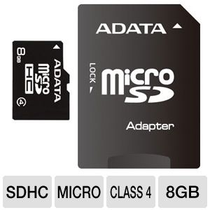 ADATA 8GB microSDHC Flash Card with SD Adapter