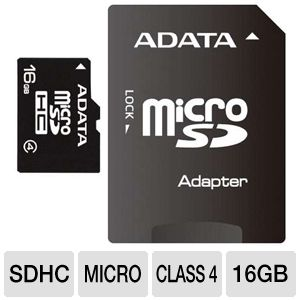 ADATA 16GB microSDHC Flash Card with SD Adapter