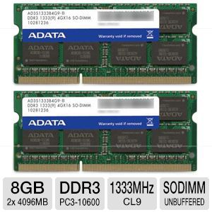 ADATA Premier Series 8GB 1333MHz-DDR3 Laptop Kit