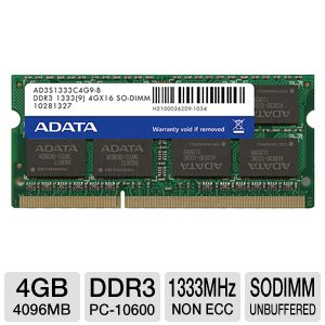 ADATA Premier Series 4GB 1333MHz-DDR3 Laptop RAM