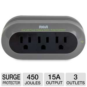 RCA Travel Charger with Surge Protection