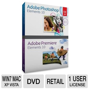Adobe Photoshop &amp; Premiere Elements 10 Software 