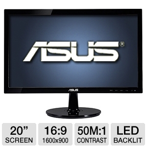 "Asus VS208N-P 20"" Class Widescreen LED Moni REFURB"