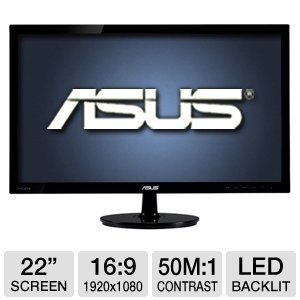 "ASUS 22"" Wide 1080p LED Monitor, VGA, DVI, HDMI"