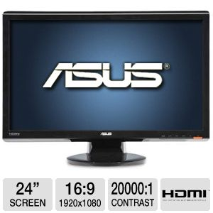 "ASUS 24"" Wide 1080p LCD, Speakers, VGA, DVI, HDMI"