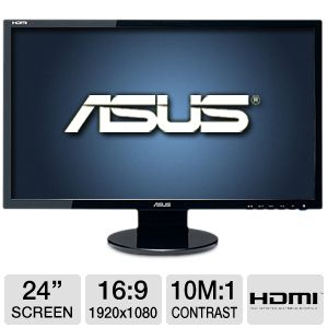 "ASUS 24"" Wide 1080p 2ms LED, Speakers, DVI, HDMI"