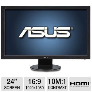 "ASUS 24"" 1080p LED, Speakers, 2ms, DVI, HDMI"