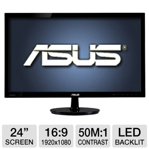 "ASUS 24"" Wide 1080p LED, 2ms, DVI, HDMI"