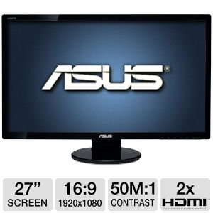 "ASUS 27"" Wide 1080p LED, Speakers, 2ms, HDMI x 2"