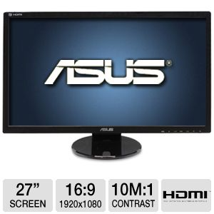 "ASUS 27"" Wide 1080p LED, 2ms, Speakers, DVI, HDMI"