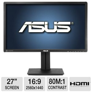"ASUS 27"" WQHD 2560x1440 PLS LED Monitor, Ergonomic"