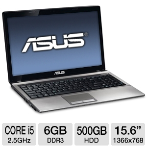 ASUS A53E-TS51 15.6 inch 6GB LED Laptop Computer with 2.5Ghz Intel Core i5-2450M Processor, 500GB HDD, Webcam