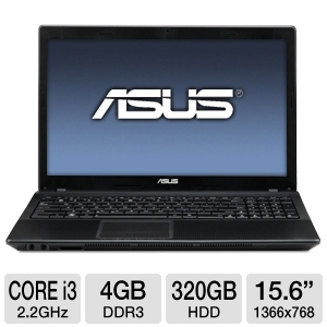 ASUS A54C-TS31 15.6 inch 4GB LED Laptop Computer with 2.2Ghz Intel Core i3-2330M Processor, 320GB HDD, Webcam