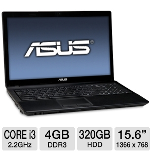 "ASUS 15.6"" Core i3 320GB HDD Laptop"