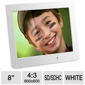 "Aluratek 8"" LED Slim White Digital Picture Frame"