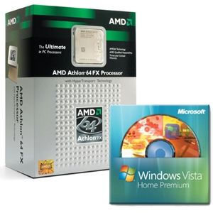 AMD A64 FX-60 w/Fan & Win Vista Home Prem DVD