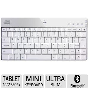 Adesso Bluetooth Mini Keyboard for iPad in White