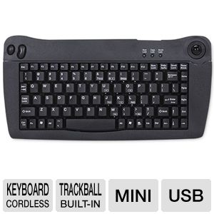 Adesso Mini USB Keyboard With Trackball (Black)