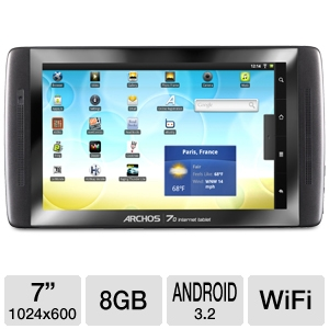 "Archos 7"" 8GB Flash Google Cert.Android 3.2 Tablet"