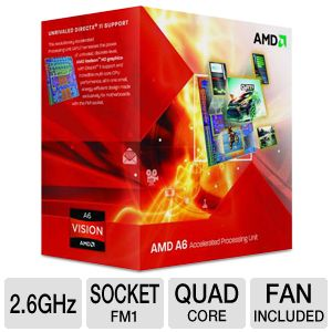 AMD Quad-Core A6-3650 2.6GHz Radeon HD 6530D APU