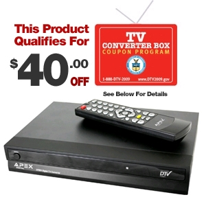 Apex DT502 Digital TV Converter Box with Remote Co