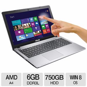 "ASUS 15.6"" AMD A4 Quad-Core Touch Notebook"
