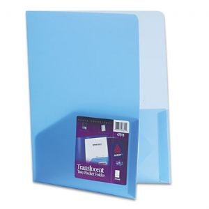 Avery Translucent Two-Pocket Folder in Blue