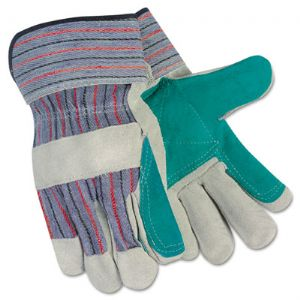 GLOVES,LEATHR PALM,LGE,GY