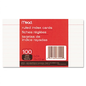 CARD,INDEX,RULED,3X5,WHT