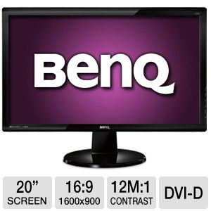 "BenQ 20"" Wide 1600x900 LED Monitor, VGA, DVI"