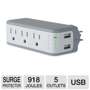 Belkin Mini Surge Protector with USB Charger