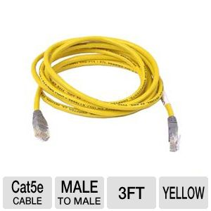 Belkin - 3' Traditional Cat5e Yellow UTP