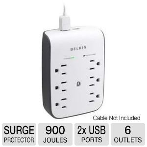Belkin 6 Outlet Surge Protector with 2x USB Ports
