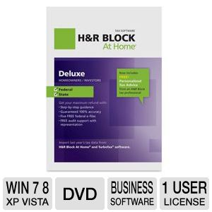 H&R Block At Home Deluxe + State 2012 Tax Software