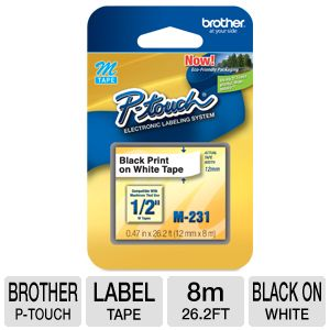 Brother M231 Black on White M Tape