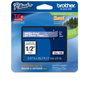 "Brother TZe135 1/2"" (.47"") White/Clear Tape (26.2"