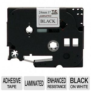"Brother TZe251 1"" (.94"") Black on White Tape"